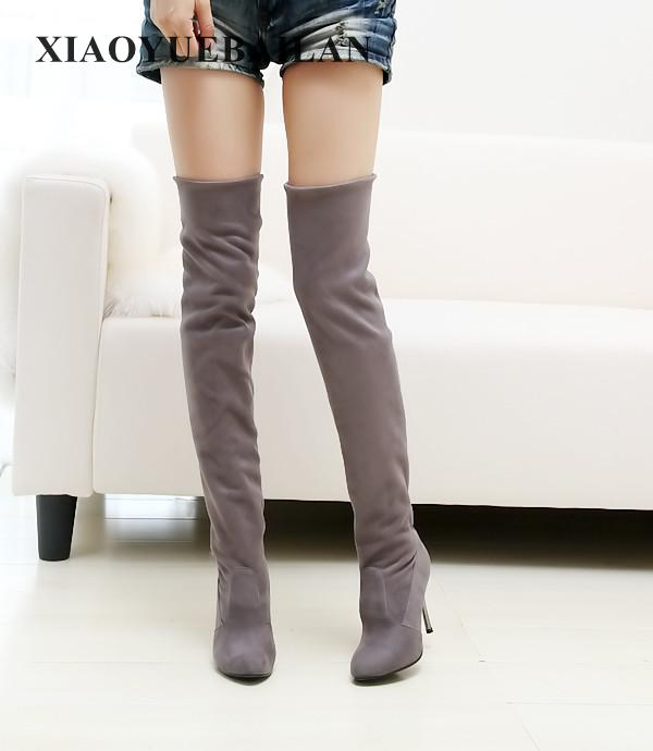 2017 Autumn And Winter Fashion All-match Stretch Long Boots With A Fine Pointed High-heeled Knee Sexy Size Shoes