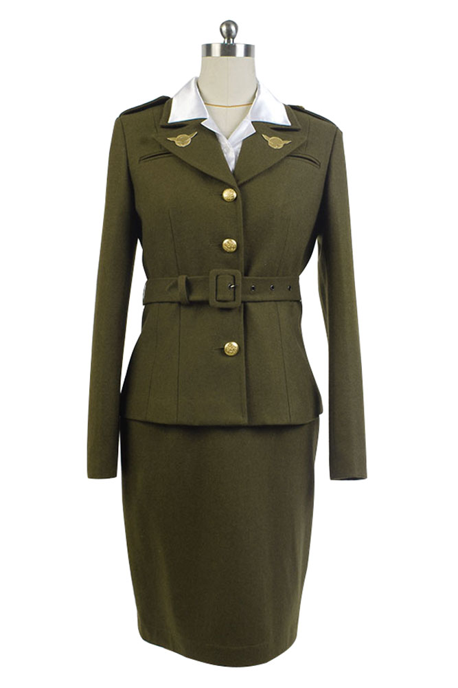 Captain America: The First Avenger Agent Peggy Carter Suit Original Cosplay Costume Coat+Shirt+Skirt Pants+Belt Halloween Party