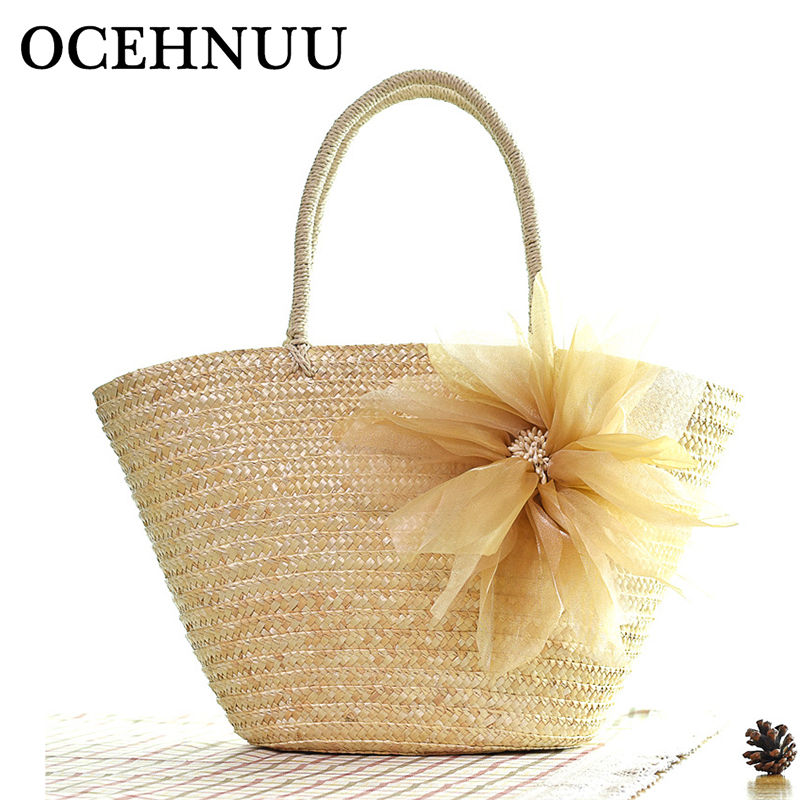 OCEHNUU New Arrival 2017 Summer Beach Bags Women Straw Handbags Colorful Large Capacity Big Zipper Casual Bags For Ladies Travel