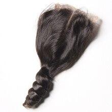 Karizma Loose גל תחרת סגירת 4*4 100% רמי שיער טבעי צבע טבעי 8 20 inches התיכון חלק 1 piece רק