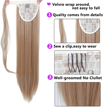 Long Straight Ponytail Extension Clip In Synthetic Hairpiece