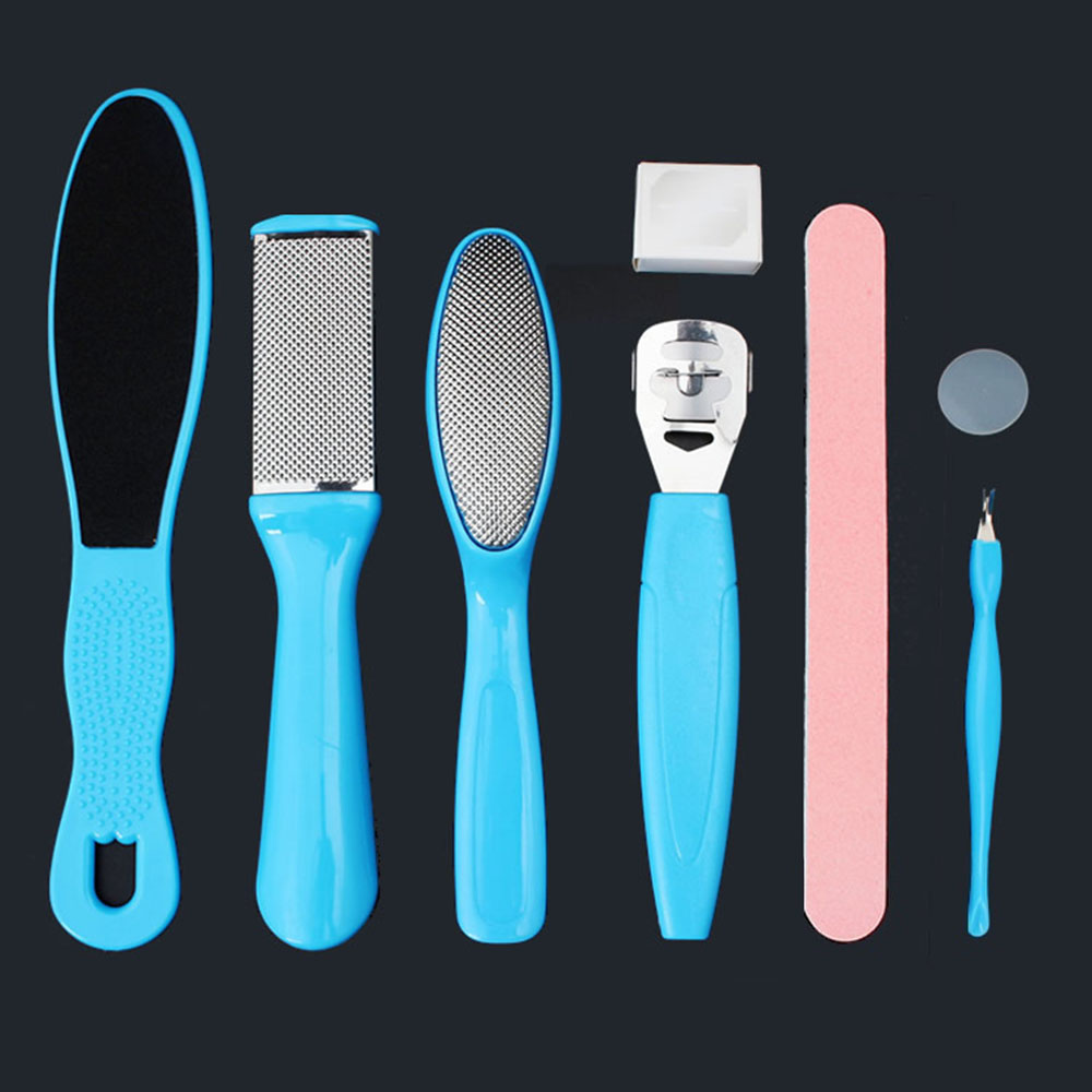 New Fashion 8 In 1 Exfoliating Pedicure Peeling Foot Care Dead Skin Remover Foot Polishing Sanding Cuticles File Rasp Tool Set