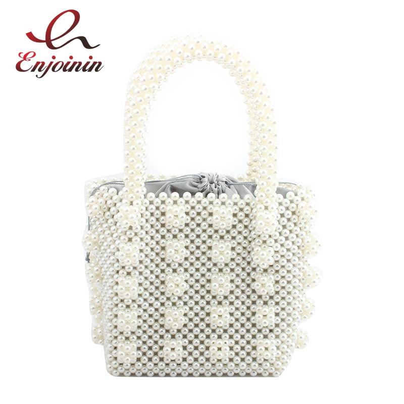 New Design Luxury Cream Pearl Satin Design Fashion Ladies Bucket Bag Tote Party Handbag Wedding Purse Bolsa Casual Totes Flap цена 2017