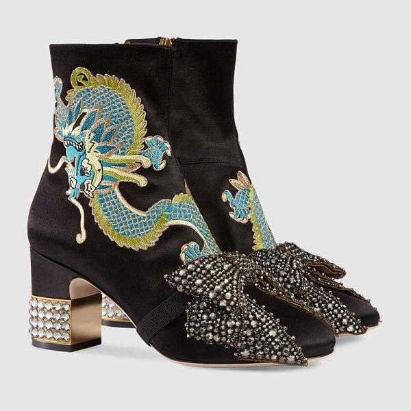 Luxe Cristal Chelsea Satin Brodé Soie Arc Hauts Femmes Chaussures Dames noeud Clouté Noir Dragon Hiver Talons De Bottines En Zx8qFt5n
