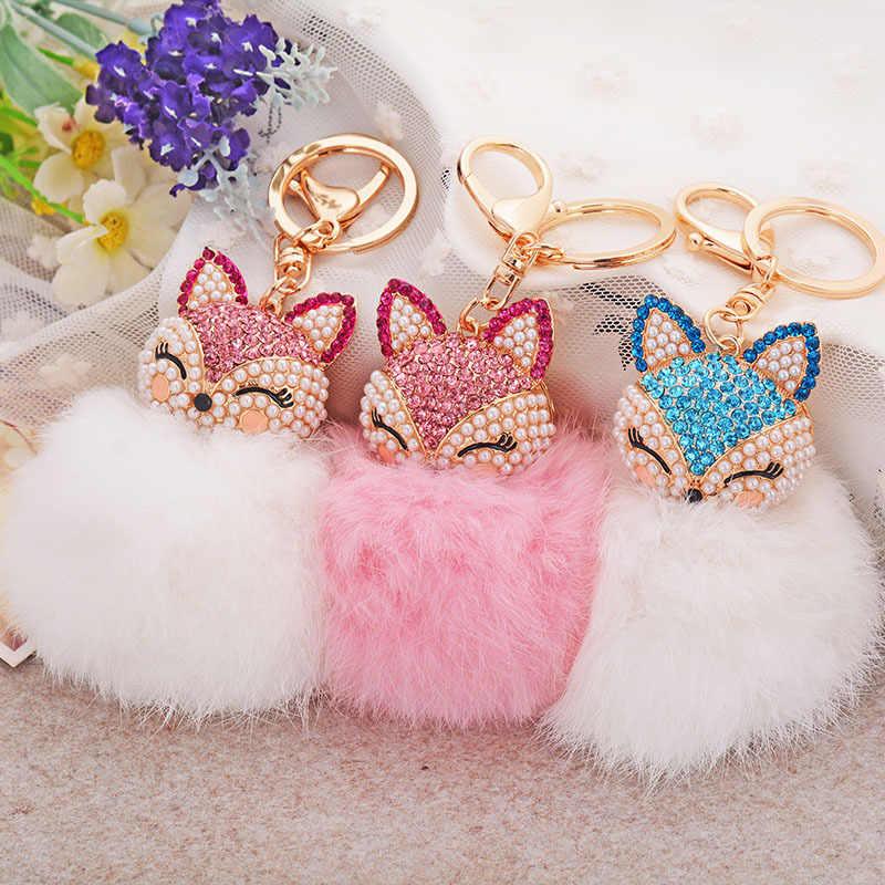 Dalaful Linda Raposa Bola de Pêlo de Coelho Fofo Saco Hotsale Pingente Chaveiros Chaveiros Chaveiros Anéis de Cristal Para As Mulheres K283