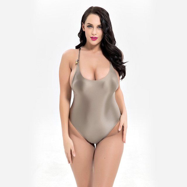e4c318fa11 Women Shiny Swimsuit New Plus Size One Piece Bathing Suit Silver Swimwear  Padded Beachwear Vintage Swimming Bodysuit Plus size