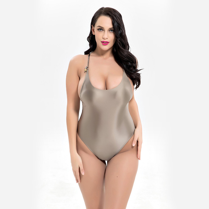 Women Shiny Swimsuit New Plus Size One Piece Bathing Suit Silver Swimwear Padded Beachwear Vintage Swimming Bodysuit Plus size