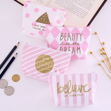 1PCS Mini Pink Women's Purse Coin Holder Wallet Money Bags Canvas Coin Key Card Wallet Zipper Change Case Purses Holder Pouch стоимость