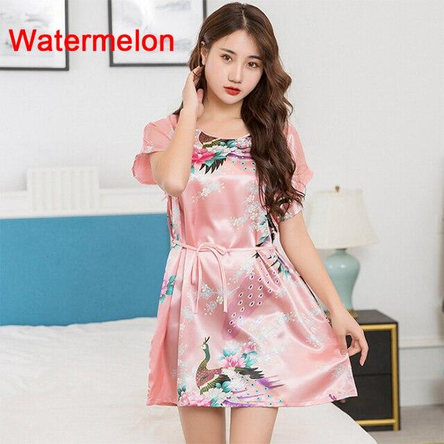 Women Soft Silk Sleepwear Imitated Sleep Floral Dress Strip Tunic Homewear Plus Size Sleepwear Breathable Casual Leisure Wear