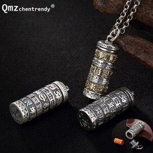 Винтажная медальон-трубочка из стерлингового серебра 990 пробы, буддийский античный кулон Shurangama Mantra vajry pestle Amulets Talismans