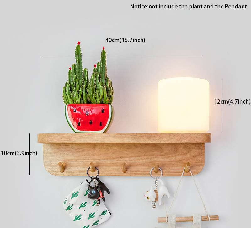 Nordic Hout Wandlamp met Hydrocultuur Succulenten Bloem Glas Pot voor Woonkamer Naast Light Blaker Wandlamp Muur Art - 2