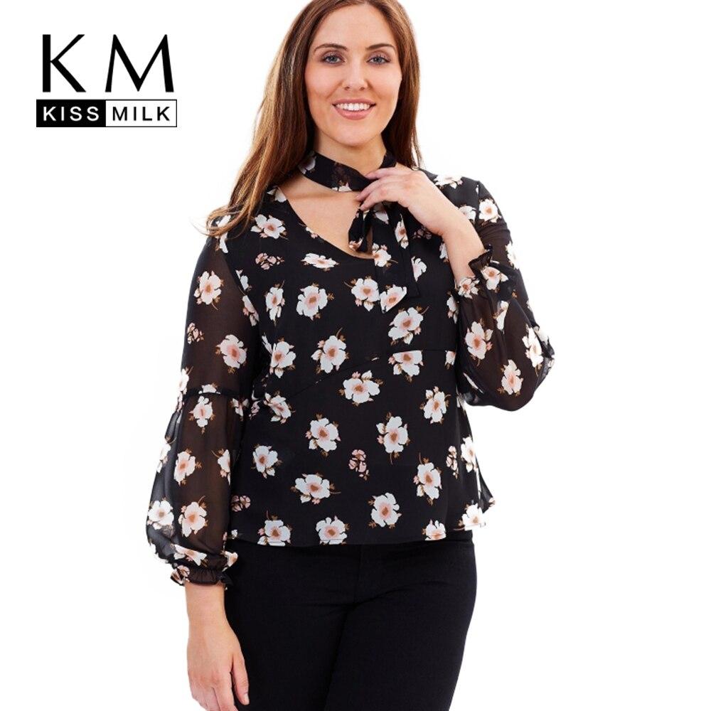 Kissmilk 2017 большой размер дамской одежды clothing casual цветочный принт лук Элегантный Топы Блузка Плюс Размер Дамы Блузки 4XL 5XL 6XL