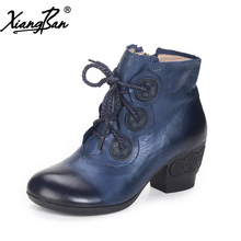 Xiangban 2018 Spring Winter Women Shoes Leather Ankle Boots Handmade Cross-Tied High Heels Short Boots Black Blue