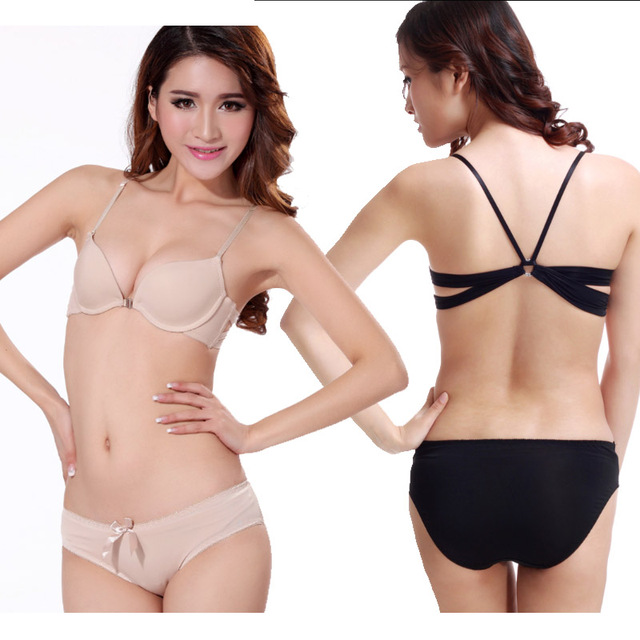 Sexy Women push up Bra Front Closure brassiere comfort The back backless Gathered Temptation women Underwear 2 piece Value Pack