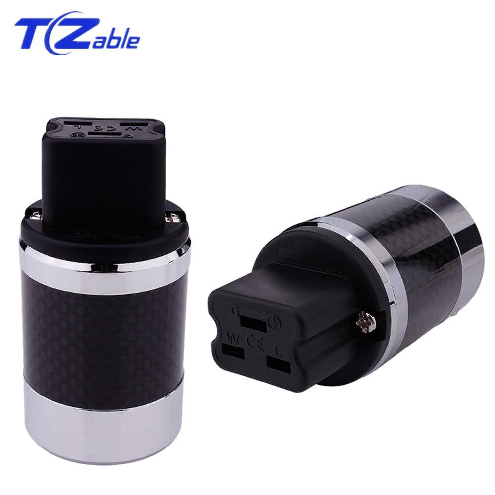 Adaptateur de prise d'alimentation en Fiber de carbone Hifi connecteur femelle en cuivre rouge 20A IEC norme US prise de courant alternatif bricolage connecteurs de haut-parleur