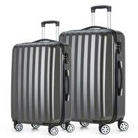 2017 Fochier Travel Luggage Set 4 Wheels Cabin ABS Hard Shell Trolley Suitcase Dark Grey 20