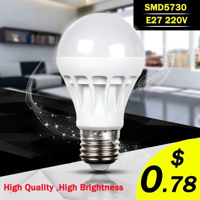 E27 Led Bulb 5730SMD 3W 5W 7W 9W 10W 12W LED Lamp, 220V Light Bulb For Home Led Spotlight Lamps High Power