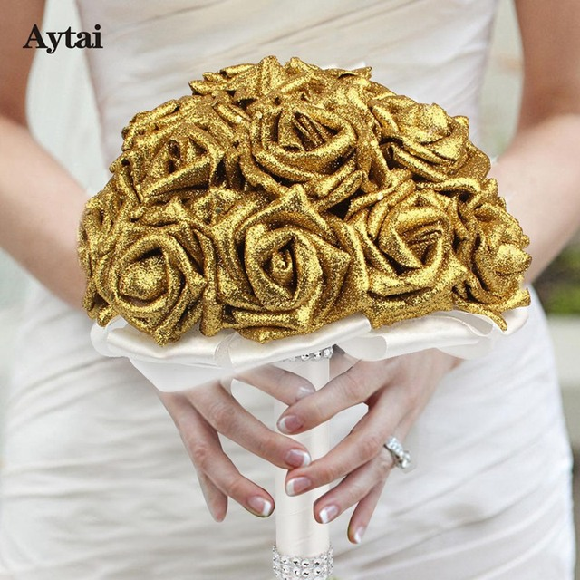 Aytai 1pc Artificial Glitter Flowers Bouquets Ivory/Gold Wedding ...