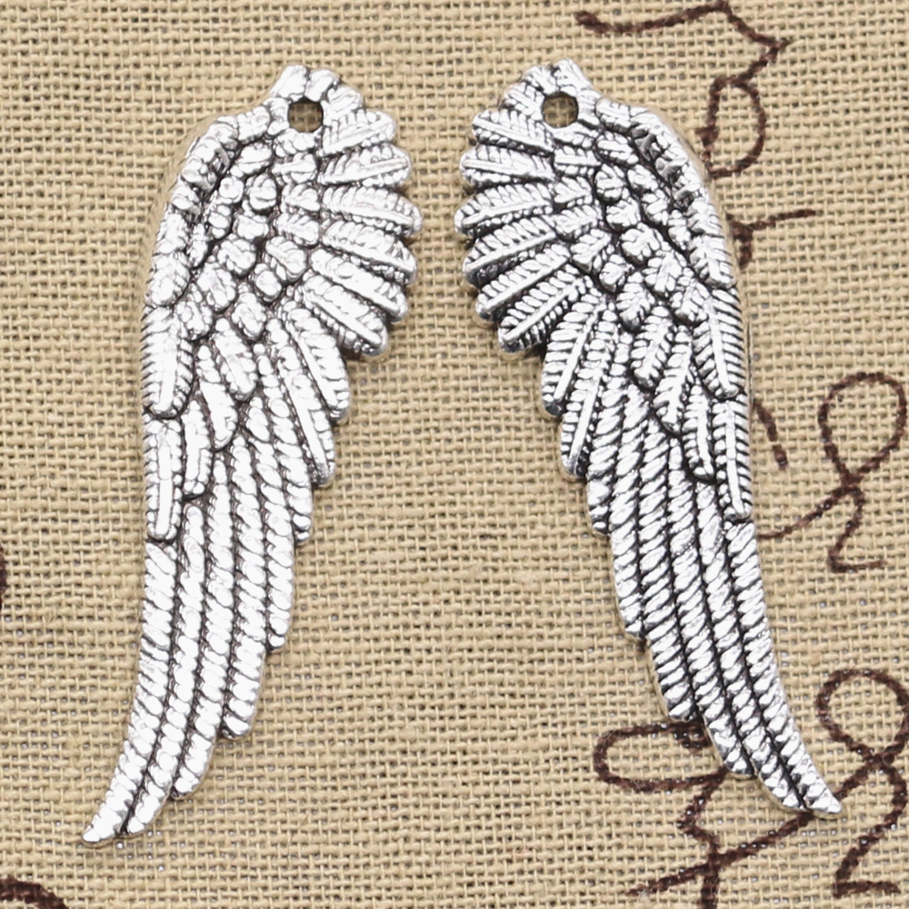10pcs Charms angel wings 50x17mm Antique Silver Bronze Pendants DIY Necklace Crafts Making Findings Handmade Tibetan Jewelry image