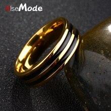 ELSEMODE tendencia dos anillos de oro de línea negra banda de boda Vintage hombres mujeres joyería Anime Anel Masculino Aneis Alliance
