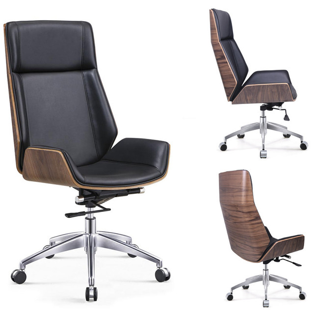High Back Bentwood Swivel Office Computer Chair Micro Fiber Leather Furniture For Home