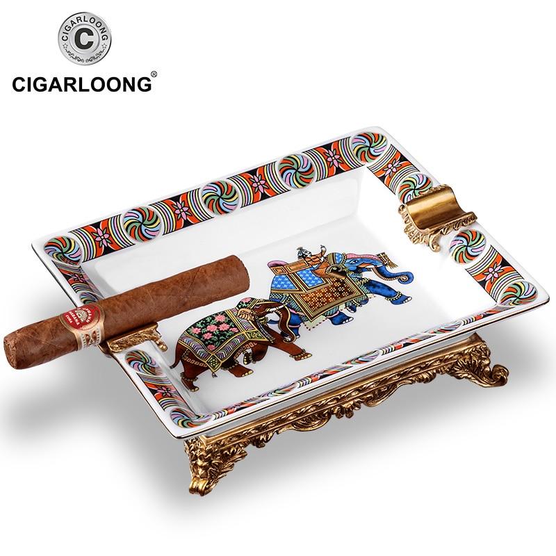 CIGARLOONG Cigar Ashtray Bone Porcelain European Ceramic Living Room Decoration Vintage cigar ashtray AH-1050