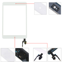 replacement home button Touch Screen for iPad Mini 3 3rd Gen A1599 A1600 A1601 Digitizer Sensor Panel Front Glass Replacement With IC Cable Home Button (2)