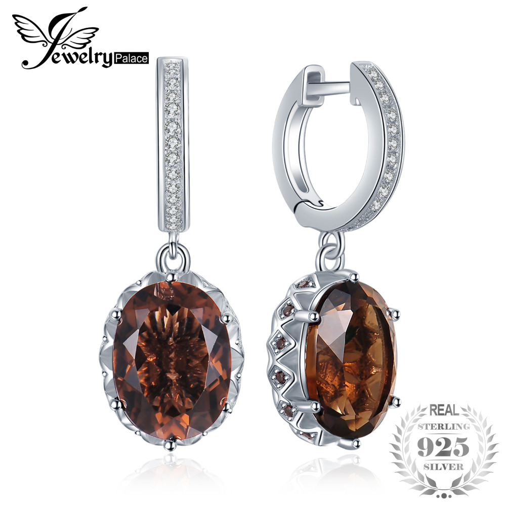 JewelryPalace 7.2ct Oval Shape Created Smoky Quartz Cubic Zirconia Drop Earrings 925 Sterling Silver Tea Crystal Flower  JewelryPalace 7.2ct Oval Shape Created Smoky Quartz Cubic Zirconia Drop Earrings 925 Sterling Silver Tea Crystal Flower