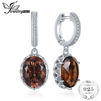 JewelryPalace 7.2ct Oval Shape Created Smoky Quartz Cubic Zirconia Drop Earrings 925 Sterling Silver Tea Crystal Flower