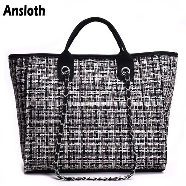 Ansloth Winter Classic Plaid Women's Handbags Woolen Bag For Women Shoulder Bags Patchwork Chain Bag Large Top-Handle Bag HPS217