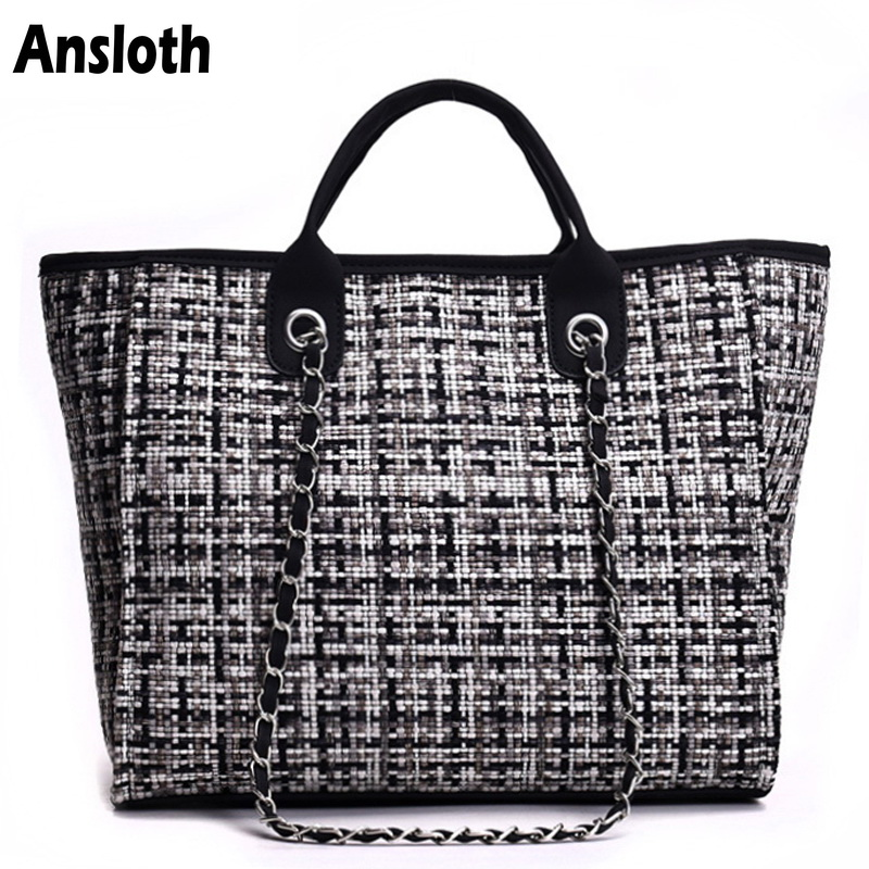Ansloth Winter Classic Plaid Women's Handbags Woolen Bag For Women Shoulder Bags Patchwork Chain Bag Large Top-Handle Bag HPS217