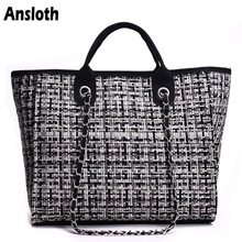 Ansloth Winter Classic Plaid Womens Handbags Woolen Bag For Women Shoulder Bags Patchwork Chain Bag Large Top Handle Bag HPS217