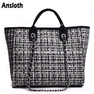 Image 1 - Ansloth Winter Classic Plaid Womens Handbags Woolen Bag For Women Shoulder Bags Patchwork Chain Bag Large Top Handle Bag HPS217