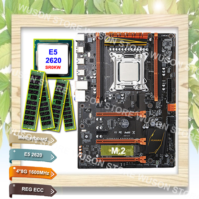 Brand motherboard bundle on sale HUANAN ZHI deluxe X79 motherboard with M.2 NVMe slot CPU Intel Xeon E5 <font><b>2620</b></font> SR0KW RAM 32G(4*8G) image