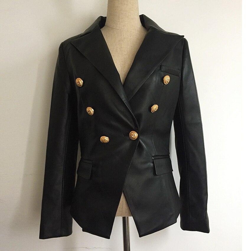 Más nuevo Otoño Invierno 2018 del diseñador chaqueta de las mujeres de Metal León botones cruzado cuero sintético chaqueta abrigo