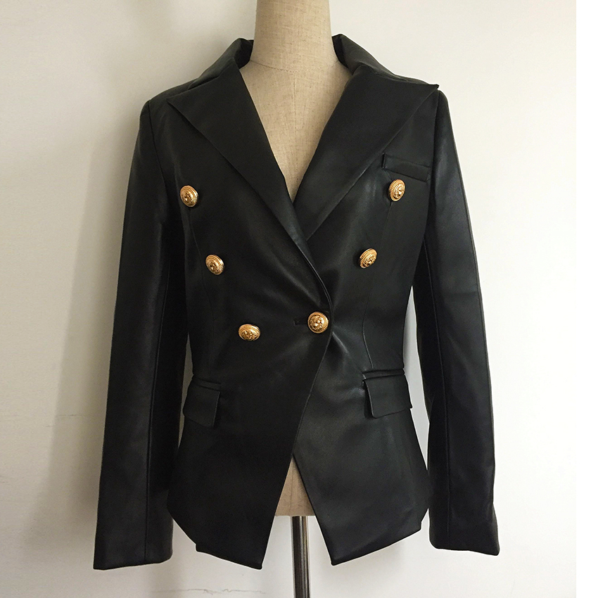Newest Fall Winter 2018 Designer Blazer Jacket Women's Lion Metal Buttons Double Breasted Synthetic Leather Blazer Overcoat