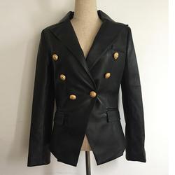 Новинка Осень-зима 2019 дизайнерский Блейзер Куртка Для женщин Лев металлические пуговицы двубортный синтетический кожаный пиджак пальто