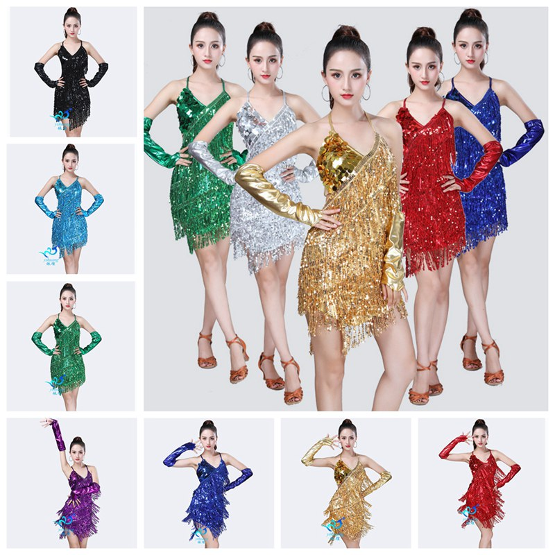 Womens Latin Dance Fringed Dress Ballroom Salsa Samba Dance Sequined Halter Competition Party Costume with Gloves XLZ9458