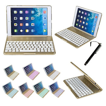 2 in 1 Wireless Bluetooth Keyboard Cover For iPad Air 5 Case 9.7inch Fashion Thin Aluminum F8 Aluminium Colorful Backlit Light