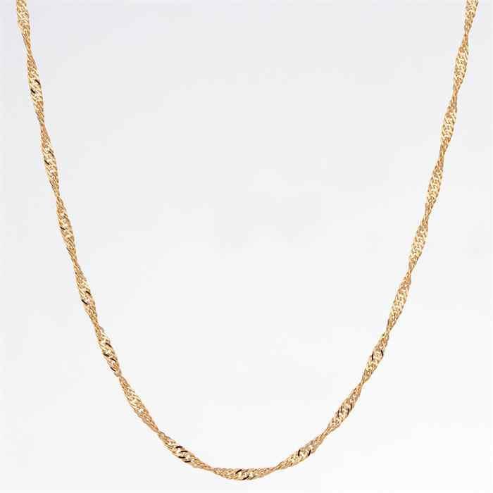 Żółty złoty kolor skręcony singapur fala łańcuch 14 'krótki naszyjnik naszyjnik hurtownia dziecko dzieci dzieci biżuteria dziewczęca prezent