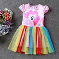 2017 New Baby Girls Tutu Dress Kid Colorful Pony Princess Dress Children Lace Evening Party Ball Gown Girl Cute Rainbow Clothing