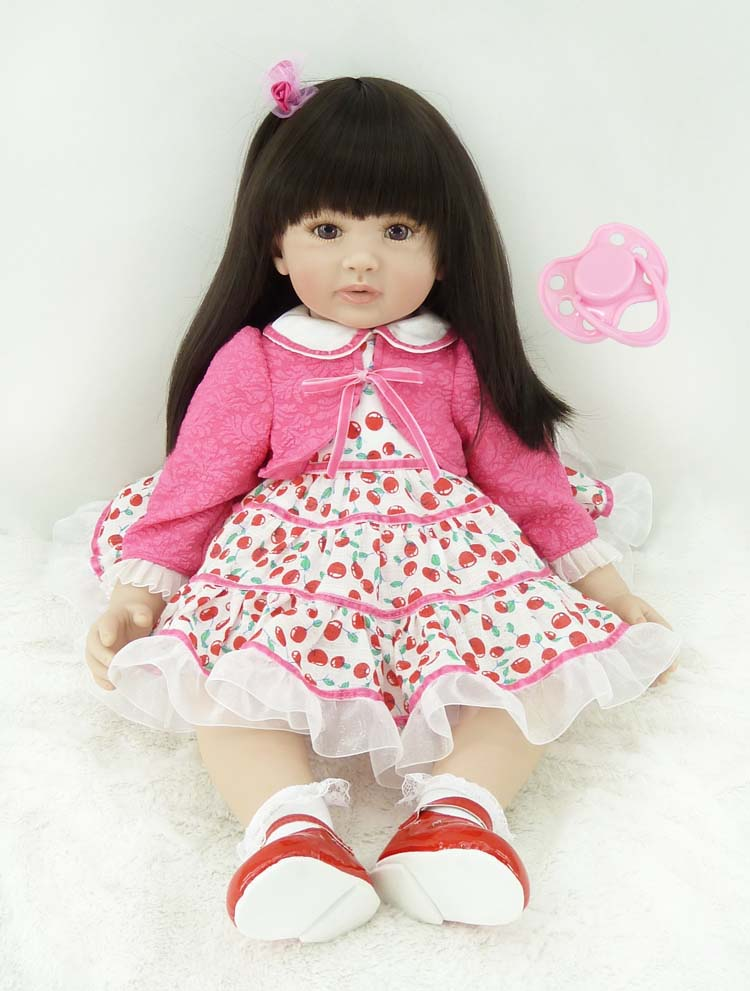 60cm Lifelike Silicone Vinyl Reborn Baby Princess Doll Toys Girl Play House Brinquedos Toy Child Kids Birthday Christmas Gifts new 18 american girl doll toys with full vinyl body princess baby toy dolls for girls brinquedos kids birthday christmas gifts