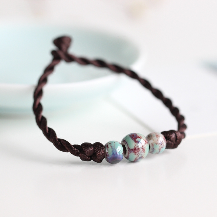 Fashion Ethnic Style High Quality Original Ceramic Bronze Adjustable Handmade Porcelain Beads Rope Bracelets For Women 00831