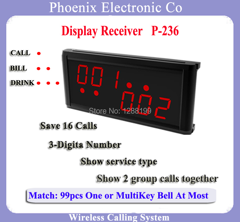 Display Receiver For Waiter Call Bell Pager System Show Two Group Calls Can work with Guest Kitchen Watch & Table Bell waiter restaurant guest paging system including wrist pager watch call bell button and display receiver show customer service