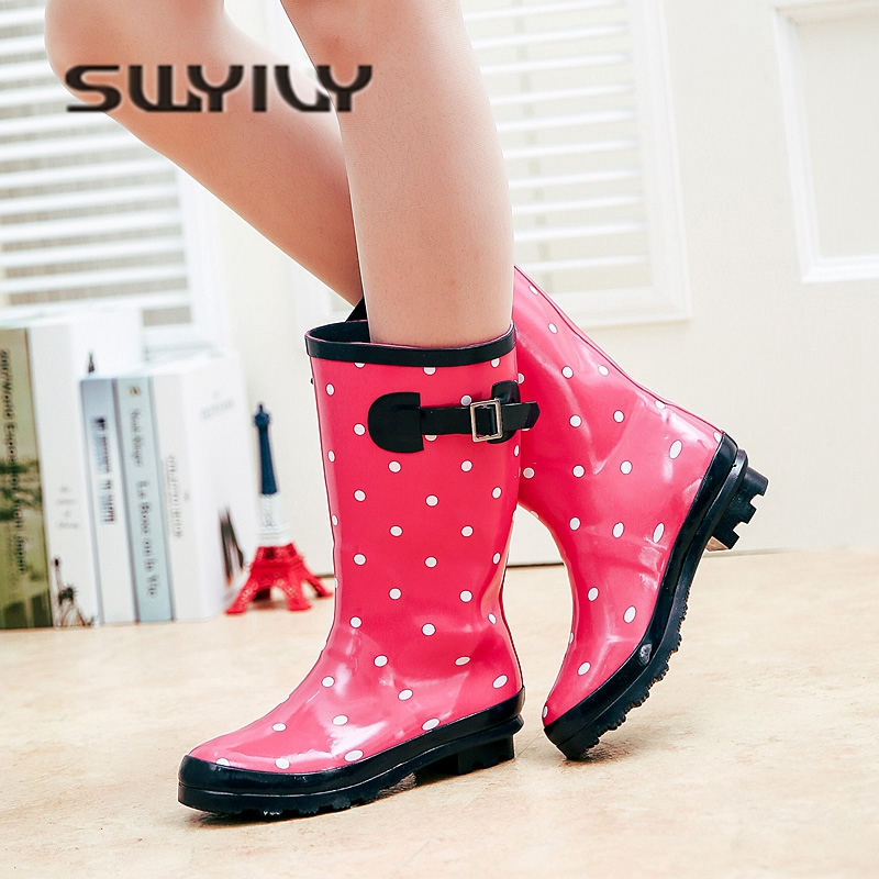 SWYIVY Rain Boots Woman Rubber Shoes Autumn Winter 2018 Female Flower Water Proof Rainboots Comfortable Mid High Rain Boots