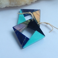 Natural Stone Obsidian Labradorite Turquoise African Sodalite Square Shape Intarsia Earring Beads 27x27x4mm 12.2g Beauty Jewelry