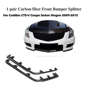 Real Carbon Fiber Front Bumper Splitters Lip Aprons Spoiler for Cadillac CTS V 2009-2015 2PCS/Set image