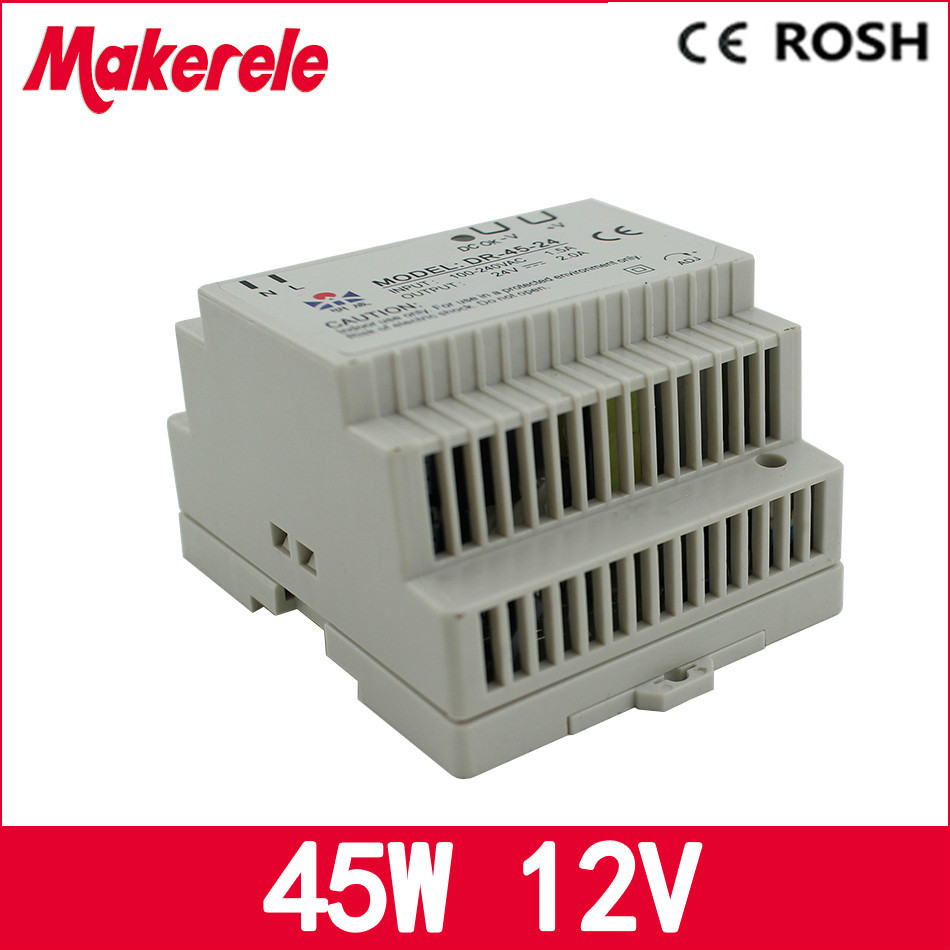 Low price directly sale DR-45-12 12v 45w Din Rail switching power supply ac dc power supply for led driver ac dc dr 60 5v 60w 5vdc switching power supply din rail for led light free shipping