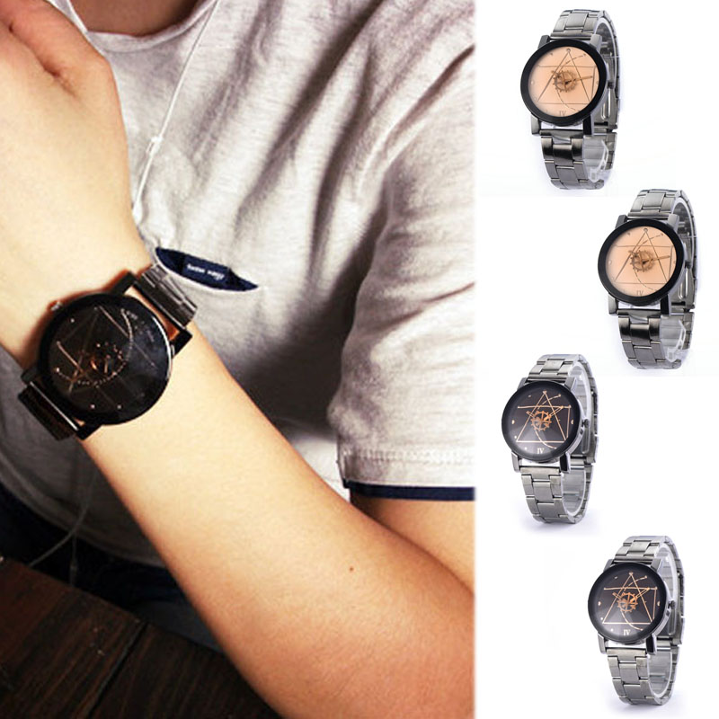 Lovers Watches Fashion Stainless Steel Band Wrist Quartz Watch Men Women Retro Analog Wristwatch Reloj Mujer Timer Smile