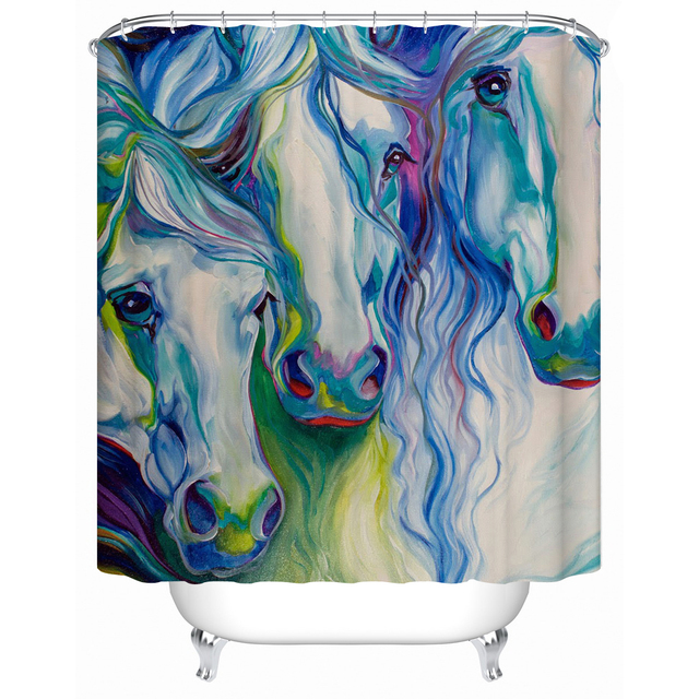 2016 New Waterproof Shower Curtain Bathroom Colored Horse Eco Friendly Fabric Accept Custom Y 055